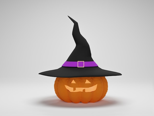 Renderização 3d. abóbora de halloween com um chapéu de bruxa em fundo branco. feliz dia das bruxas fundo