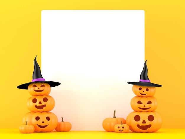 Renderização 3d, abóboras com quadro branco sobre fundo amarelo, dia das bruxas, jack o lanterna,