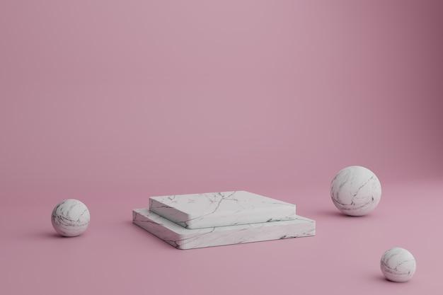 Renderização 3d abstrata cena mínima com pódios de mármore e bolas em um fundo rosa. vitrine em branco