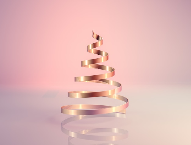 Renderização 3d abstrata com árvore de natal de luxo ouro rosa.