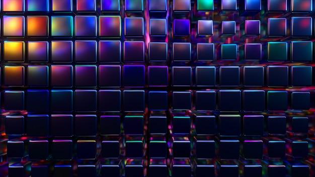 Renderização 3d abstrata com cubos em luz neon