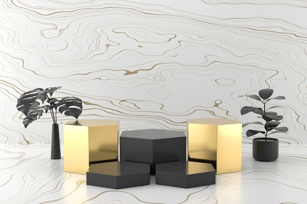 Renderização 3d abstrata da plataforma de estágio do produto em preto e dourado