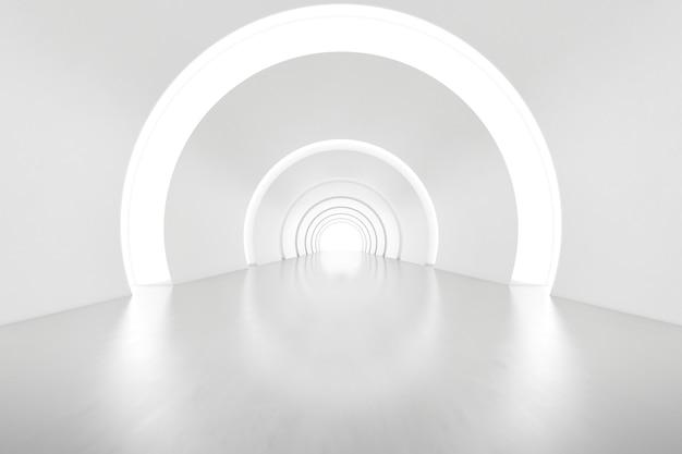 Renderização 3d abstrata da sala vazia do túnel do arco futurista com luz na parede. conceito de ficção científica.