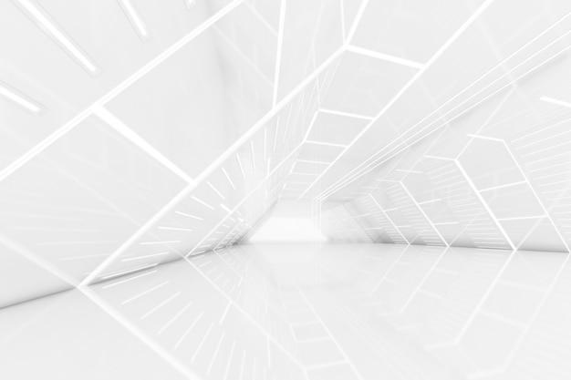 Renderização 3d abstrata da sala vazia do túnel futurista com luz na parede. conceito de ficção científica.
