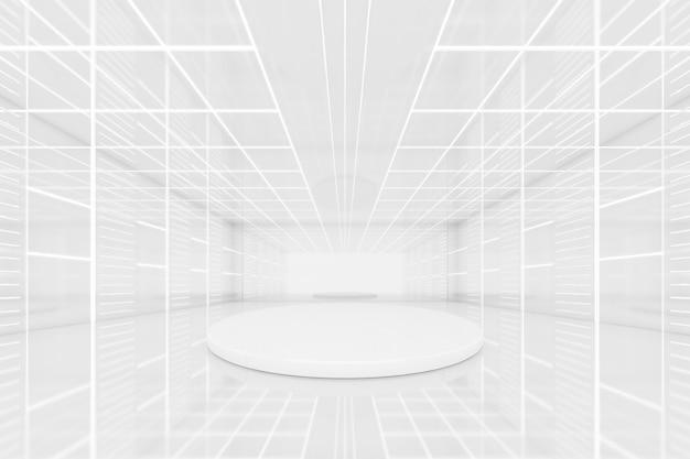 Renderização 3d abstrata da sala vazia do túnel futurista e pódio redondo, dais para apresentação do objeto com luz de néon na parede. conceito de ficção científica.