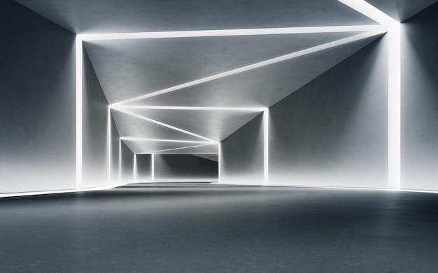 Renderização 3d abstrata de design de interiores de showroom moderno com fundo de corredor de concreto