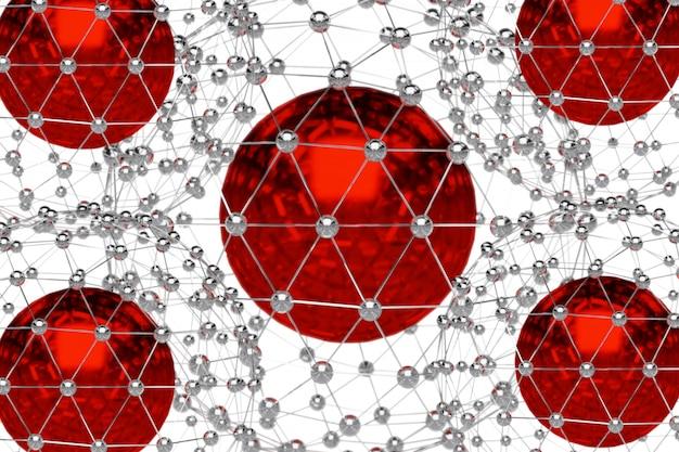 Renderização 3d abstrata de esfera de metal baixo poli