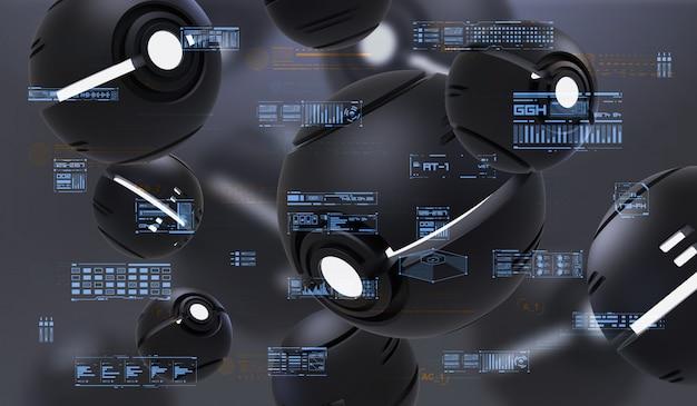 Renderização 3d abstrata de nanobots esféricas com elementos hud. composição futurista com elementos abstratos de tecnologia.