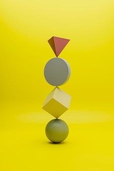 Renderização 3d abstrata de objetos geométricos multicoloridos em uma superfície amarela