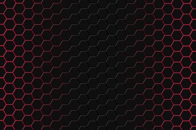 Renderização 3d abstrata de superfície futurista com hexágonos. escuro - fundo vermelho da ficção científica.