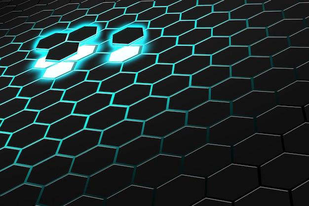 Renderização 3d abstrata de superfície futurista com hexágonos. fundo de ficção científica verde escuro.