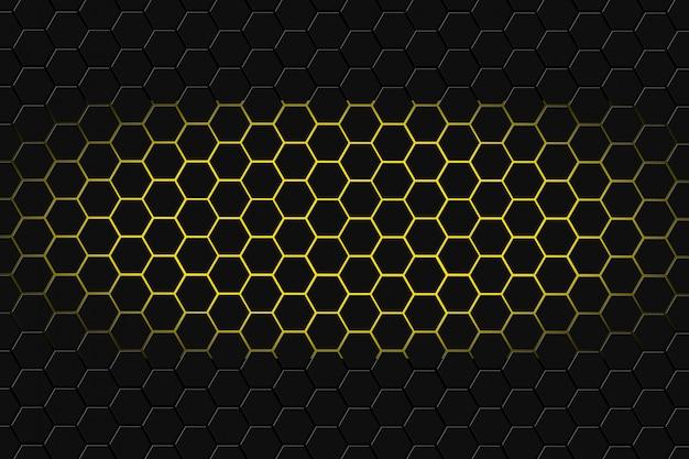 Renderização 3d abstrata de superfície futurista com hexágonos. fundo escuro de yellowsci-fi.