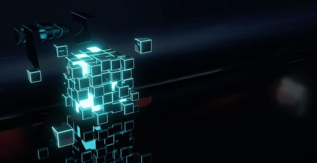 Renderização 3d abstrata de um cubo voador. forma de ficção científica no espaço vazio. fundo futurista.