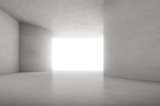 Renderização 3d abstrata de uma sala vazia de concreto com luz e sombra na parede.