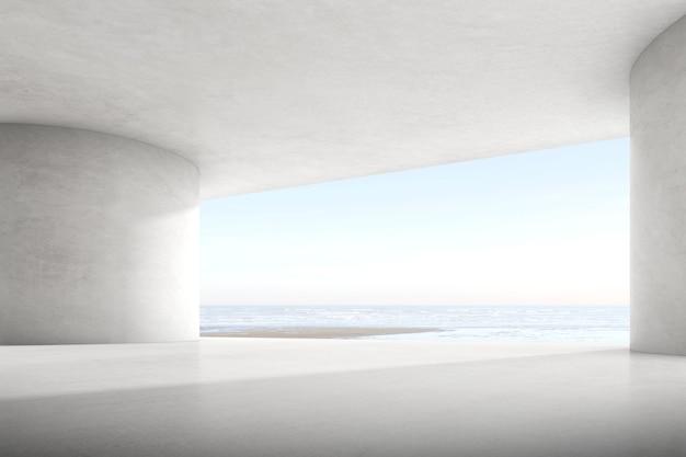 Renderização 3d abstrata do espaço de concreto vazio com luz e sombra na estrutura da curva