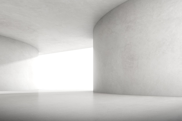 Renderização 3d abstrata do espaço de concreto vazio com luz e sombra na estrutura de curva, arquitetura futurista.
