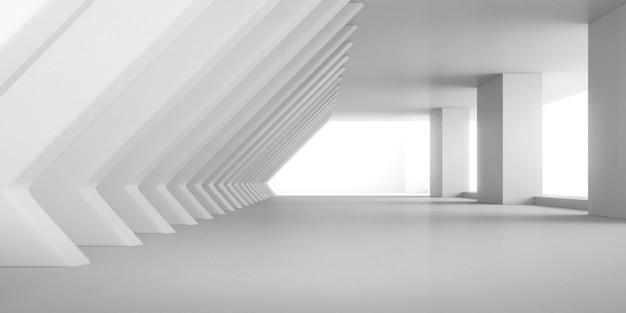 Renderização 3d abstrata do espaço vazio de concreto com luz e sombra na estrutura da coluna, arquitetura futurista.