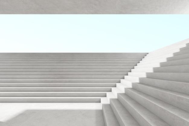 Renderização 3d abstrata do espaço vazio de concreto com luz e sombra na estrutura da escada, arquitetura futurista.