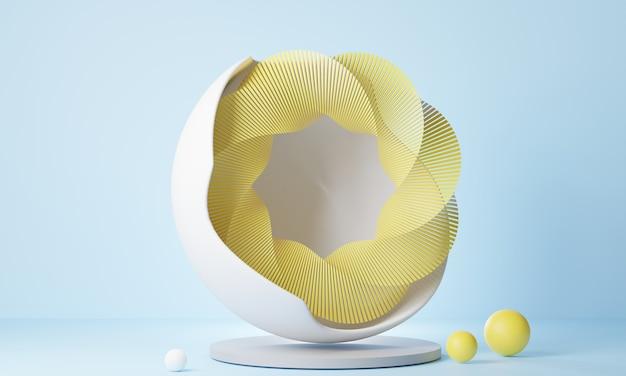 Renderização 3d abstrata oval amarela com fundo azul claro