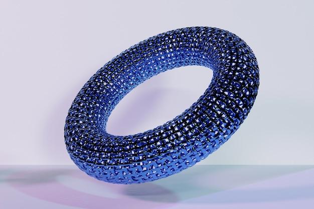 Renderização 3d abstrato azul metal redondo fractal, portal. espiral redonda em fundo branco isolado