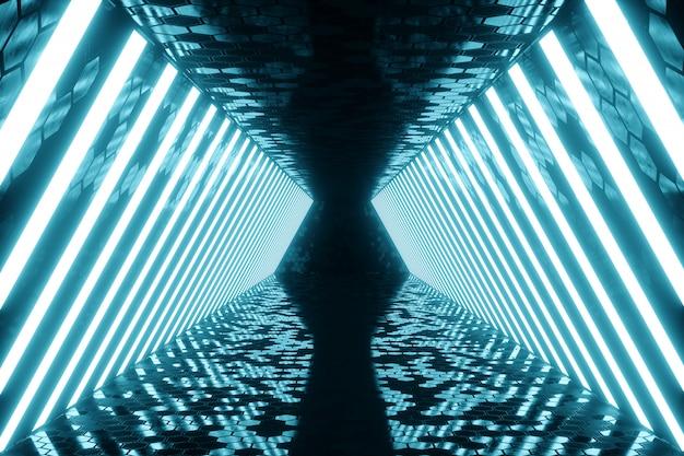 Renderização 3d abstrato azul quarto interior com lâmpadas de néon azuis. fundo de arquitetura futurista. mock-up para o seu projeto de design.