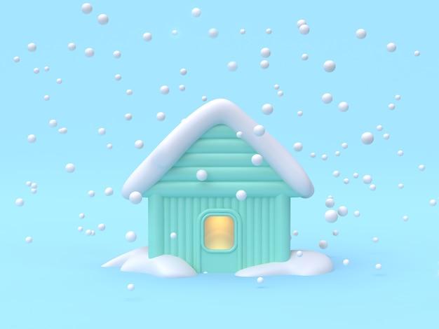 Renderização 3d, abstrato, casa-lar, inverno, natureza, conceito cena, desenhos animados, estilo, 3d, fazendo