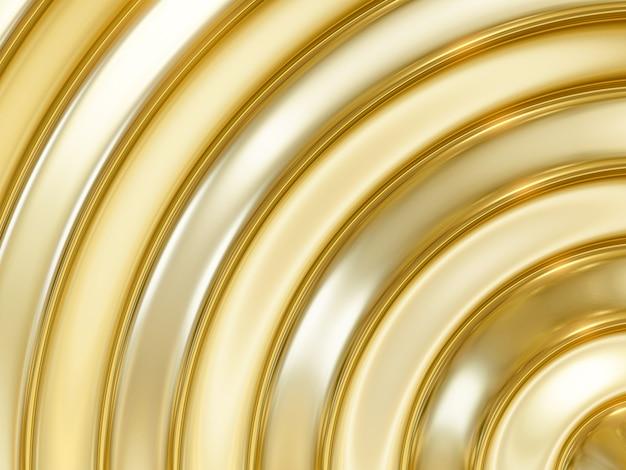 Renderização 3d abstrato de ouro e prata fundo de curva metálico
