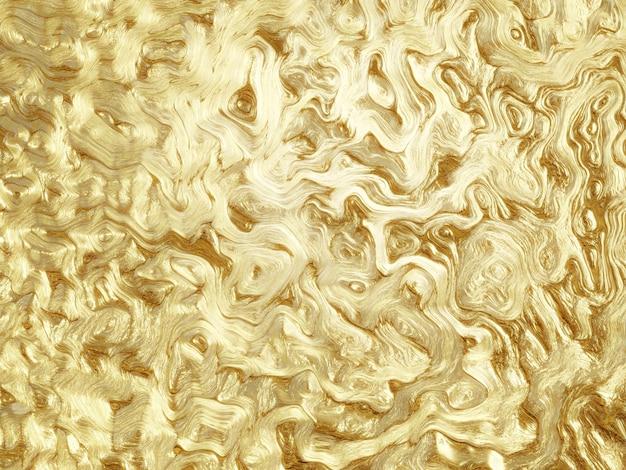 Renderização 3d abstrato dourado fluindo e fundo derretendo