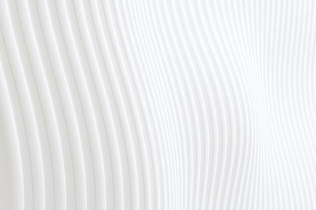 Renderização 3d, abstrato parede onda arquitetura branco fundo