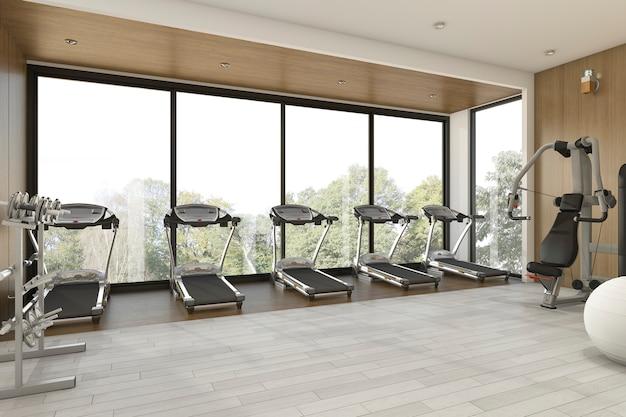 Renderização 3d agradável jardim vista madeira ginásio e fitness