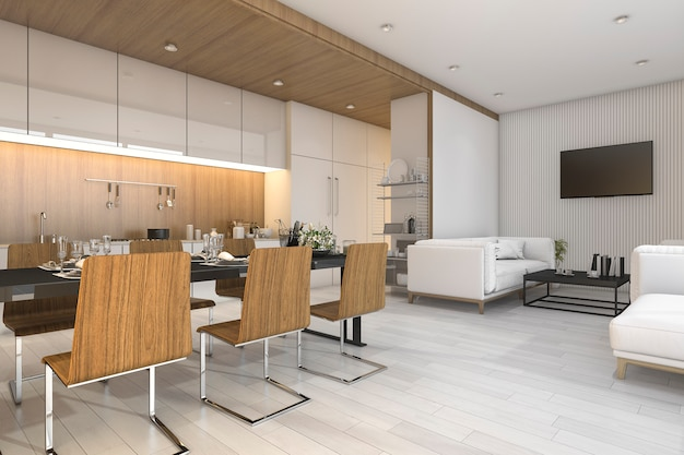 Renderização 3d agradável madeira cozinha e sala de jantar com zona de estar