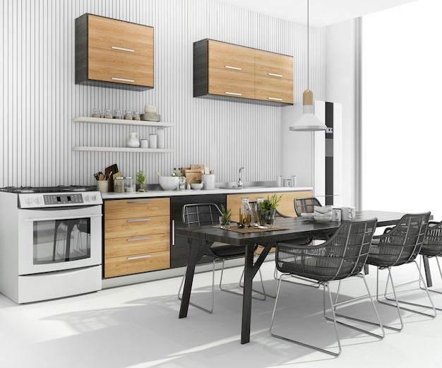 Renderização 3d agradável mesa de jantar perto de madeira cozinha bar