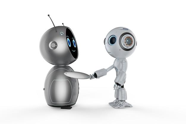 Renderização 3d amigável mão do robô tremendo no fundo branco