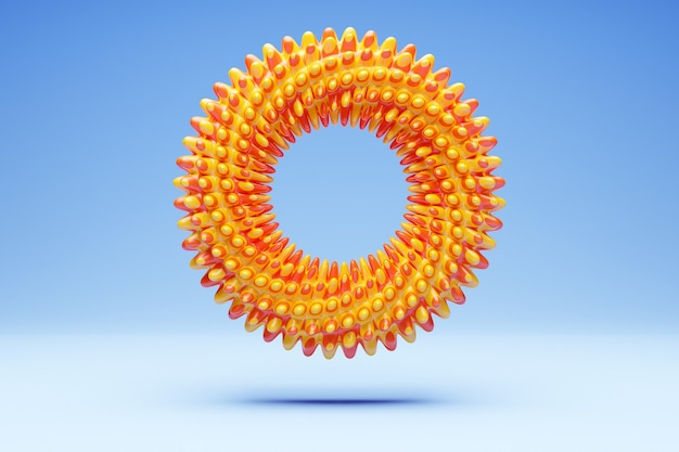 Renderização 3d anel de espinhas laranja, fractal, portal sobre fundo azul isolado