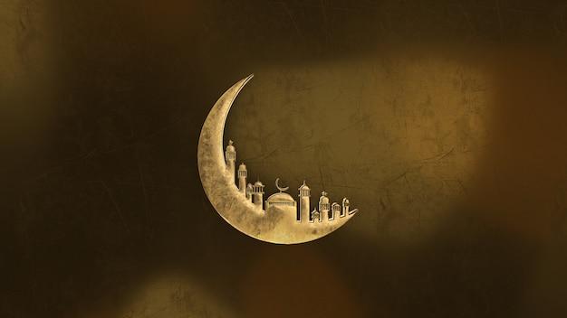 Renderização 3d, animação de ramadan kareem com mesquita de lua dourada e fundo claro.