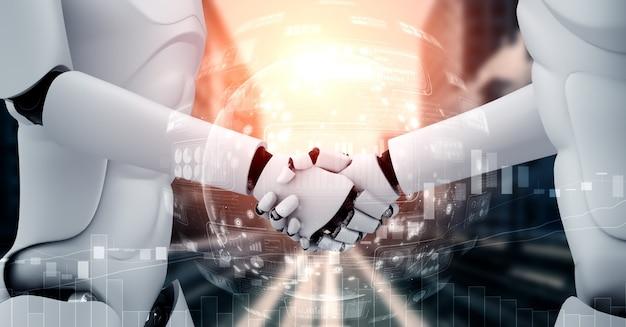 Renderização 3d - aperto de mão do robô humanóide com gráfico de negociação do mercado de ações