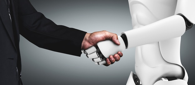 Renderização 3d - aperto de mão do robô humanóide para colaborar com a tecnologia do futuro