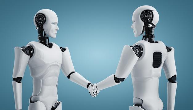 Renderização 3d aperto de mão do robô humanóide para colaborar com a tecnologia do futuro