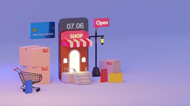 Renderização 3d aplicativo móvel, compras on-line no mocile na manhã., conceito de compras todos os tempos.