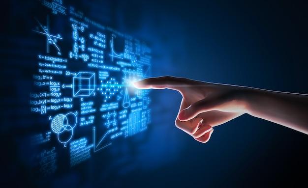 Renderização 3d apontando o dedo humano para a fórmula matemática e o display gráfico de cálculos