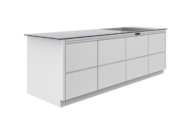 Renderização 3d armário de cozinha isolado no branco