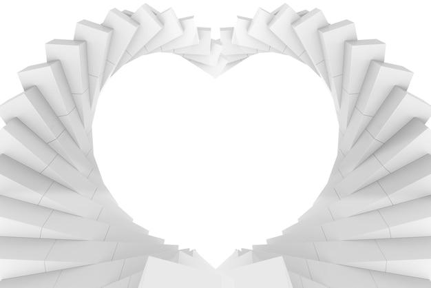 Renderização 3d. arte do redemoinho do rodopio da ilusão branca no fundo da parede de forma de coração.