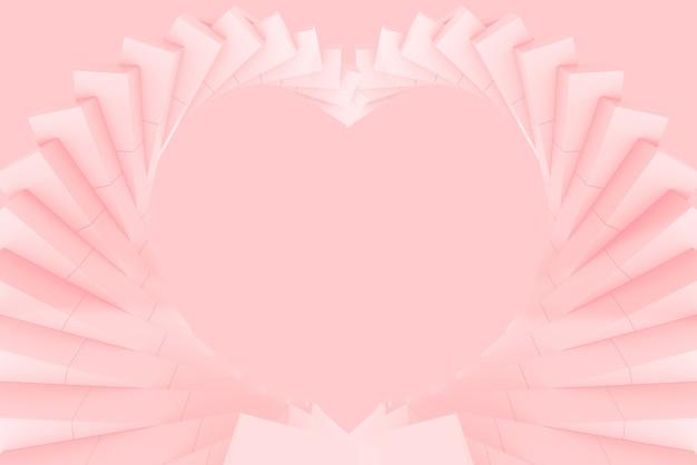 Renderização 3d. arte do redemoinho do rodopio rosa suave no fundo da parede de forma de coração.