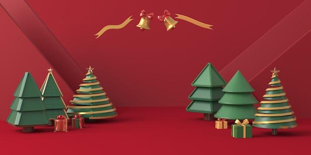 Renderização 3d, árvore de natal com fundo vermelho
