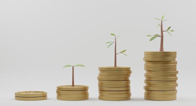 Renderização 3d. árvore em crescimento no gráfico de crescimento da pilha de moedas. conceito de investimento empresarial e economia de dinheiro.