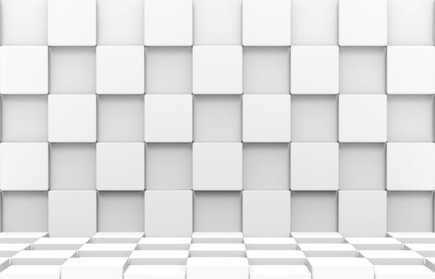 Renderização 3d. as caixas futuristas modernas do cubo redondo branco empilham a parede e o fundo da arte do projeto do chão