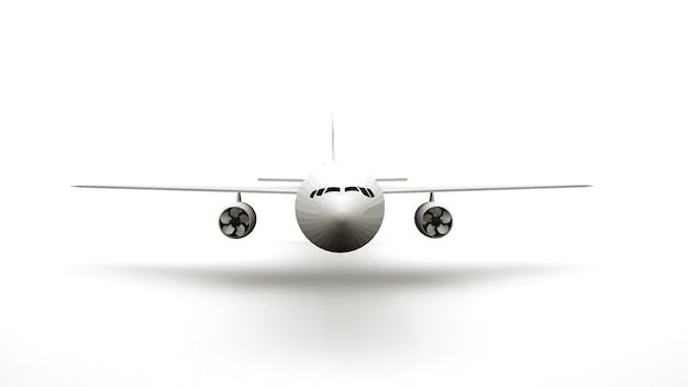 Renderização 3d, asas e hélices de um avião de passageiros. transporte aéreo, aeroporto, elemento isolado no fundo branco, design. vista frontal.