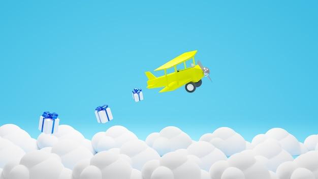 Renderização 3d avião amarelo voando com nuvem