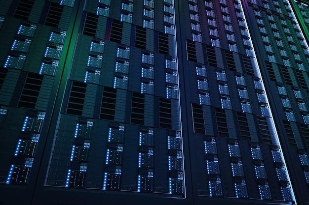 Renderização 3d azul da torre do servidor close-up do fundo