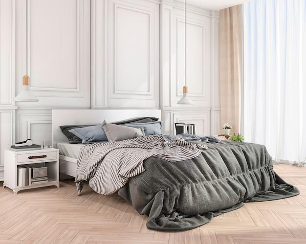 Renderização 3d azul suave cama clássica no quarto clássico